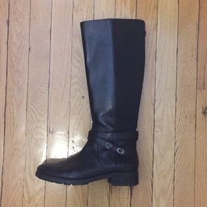 Coach black leather riding boots